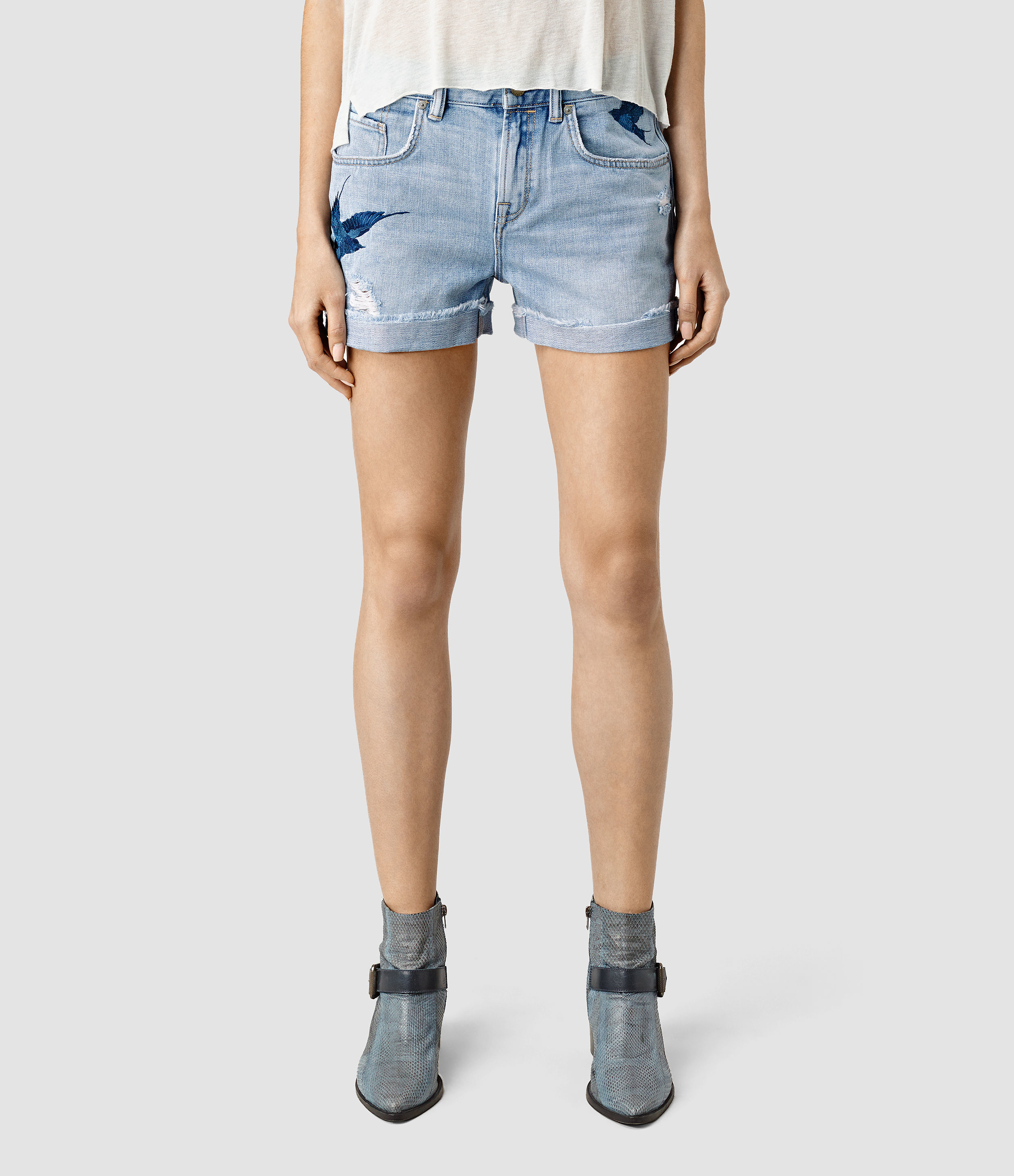 Allsaints Birds Embroidered Denim Shorts Usa Usa In Blue