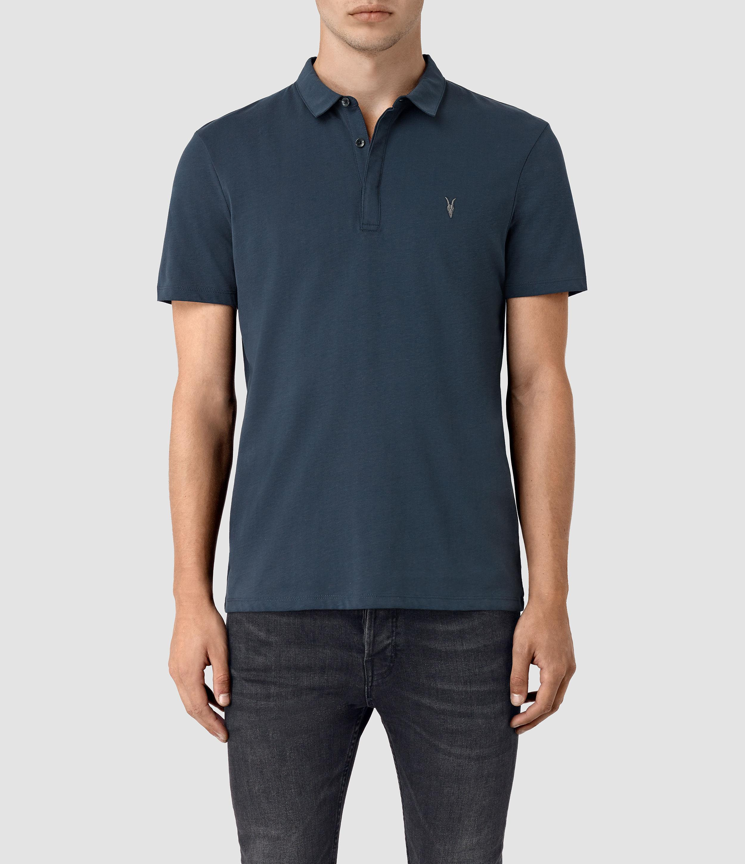 Lyst Allsaints Brace Polo Shirt In Blue For Men