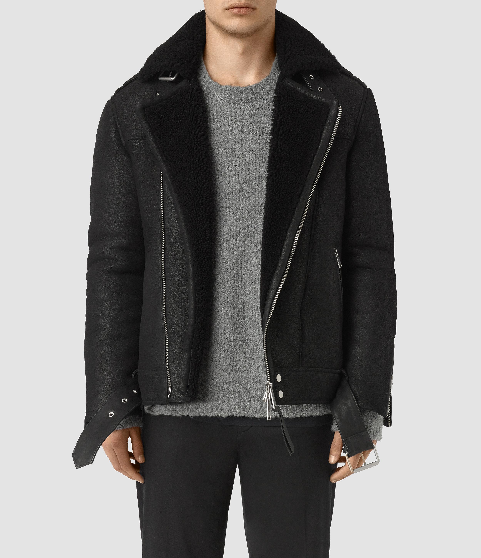 Lyst Allsaints Brennand Shearling Biker Jacket In Black