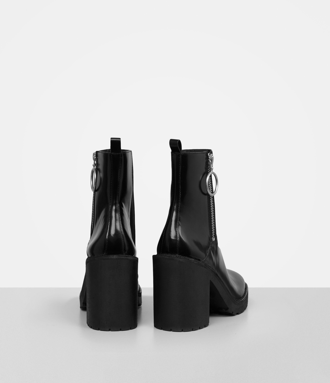 210bd172780 AllSaints Black Caleb Patent Ankle Boots