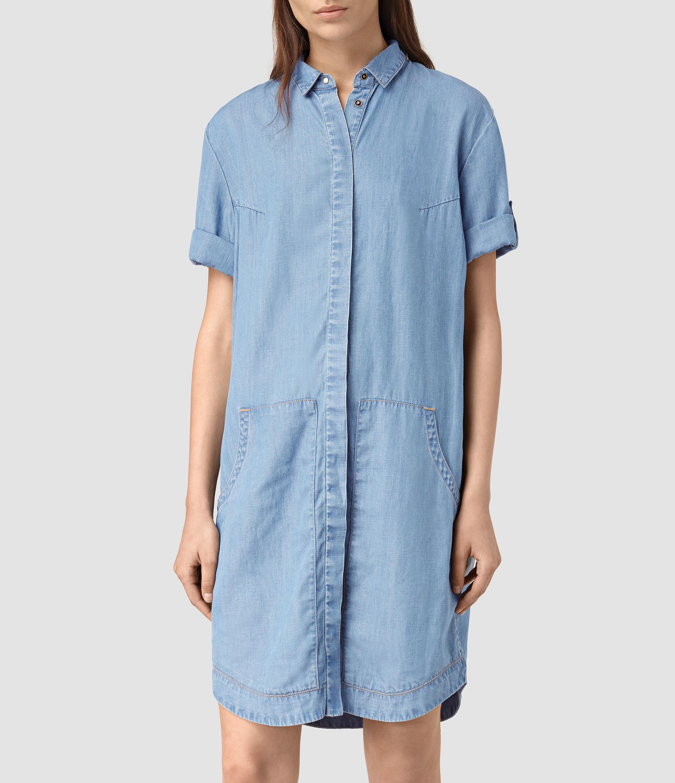 3ac92c62a8 Lyst - AllSaints Calla Bay Dress in Blue