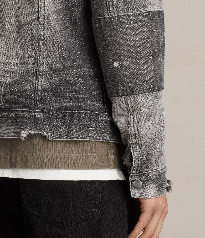 AllSaints Gambola Denim Jacket in Grey (Grey) for Men