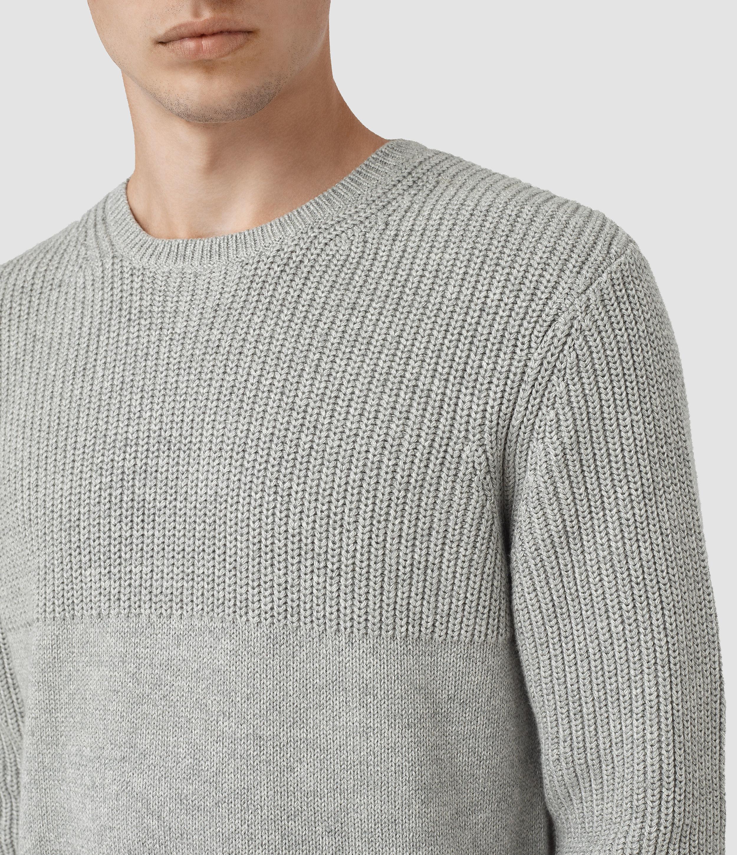 AllSaints Cotton Garr Crew Jumper in Grey Marl (Grey) for Men