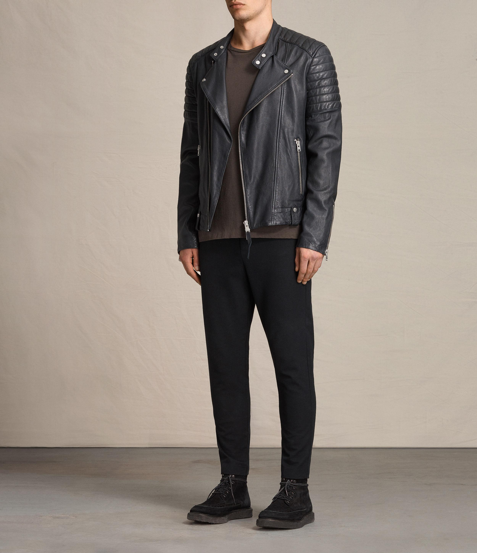 d12d73512 AllSaints Blue Jasper Leather Biker Jacket for men