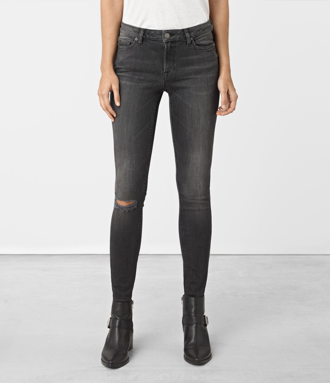 AllSaints Denim Mast Damaged Jeans in Black