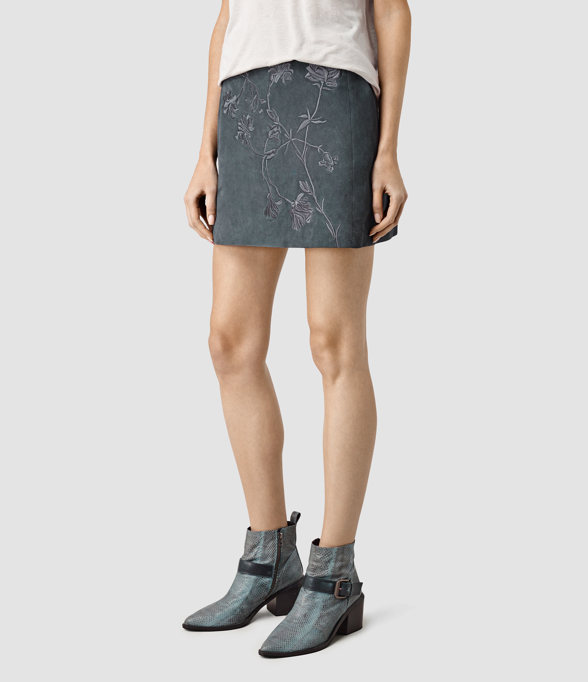 Allsaints Nathalia Embroidered Suede Skirt Usa Usa In Blue