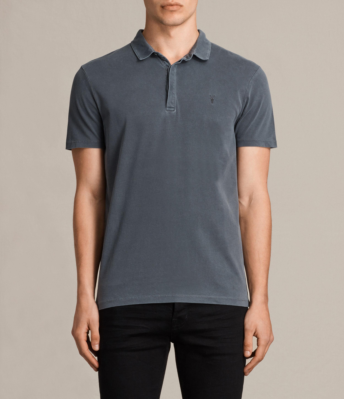 Allsaints Ossage Polo Shirt In Black For Men Lyst