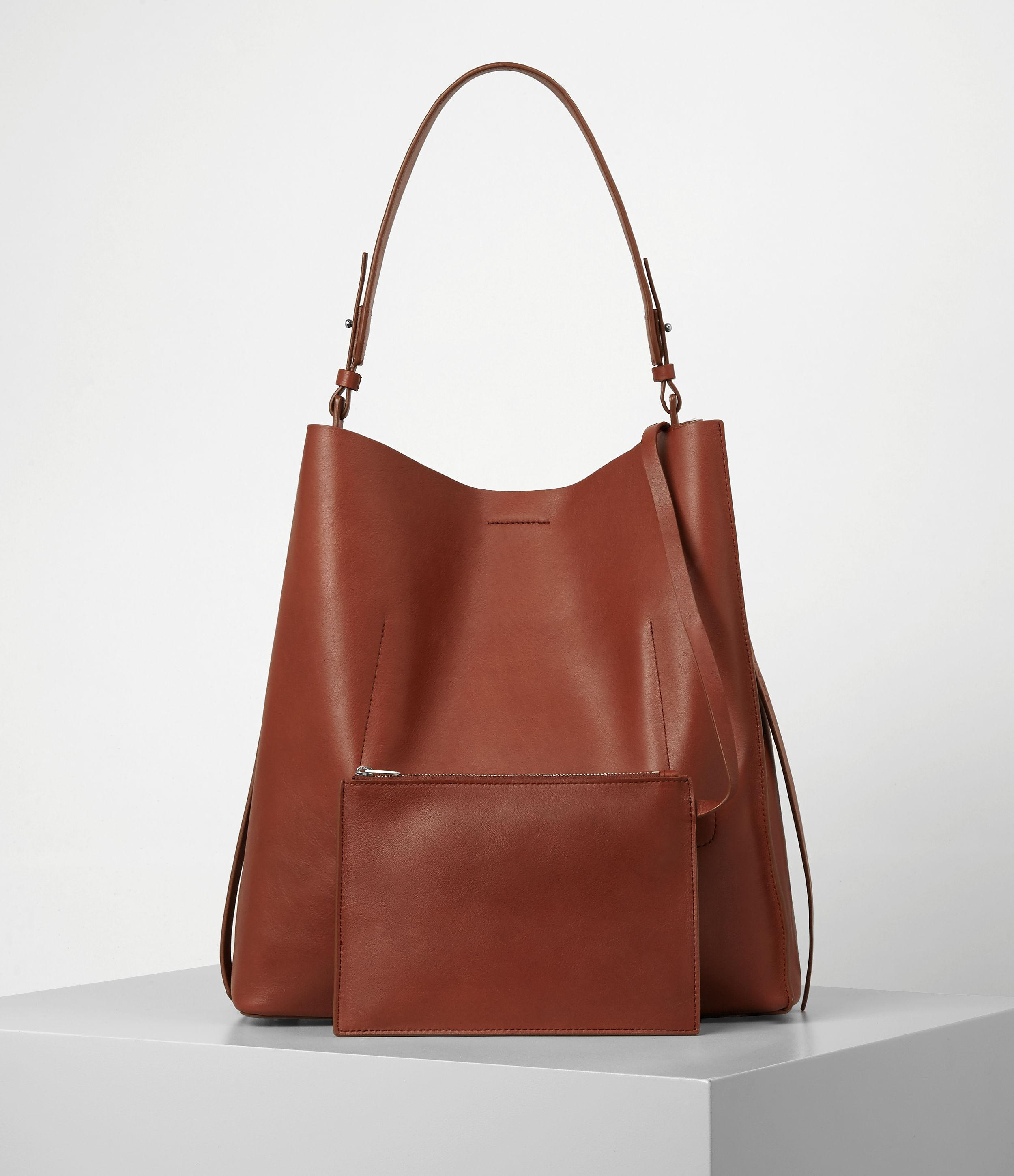 AllSaints Leather Paradise North South Tote in Brick Brown (Brown)