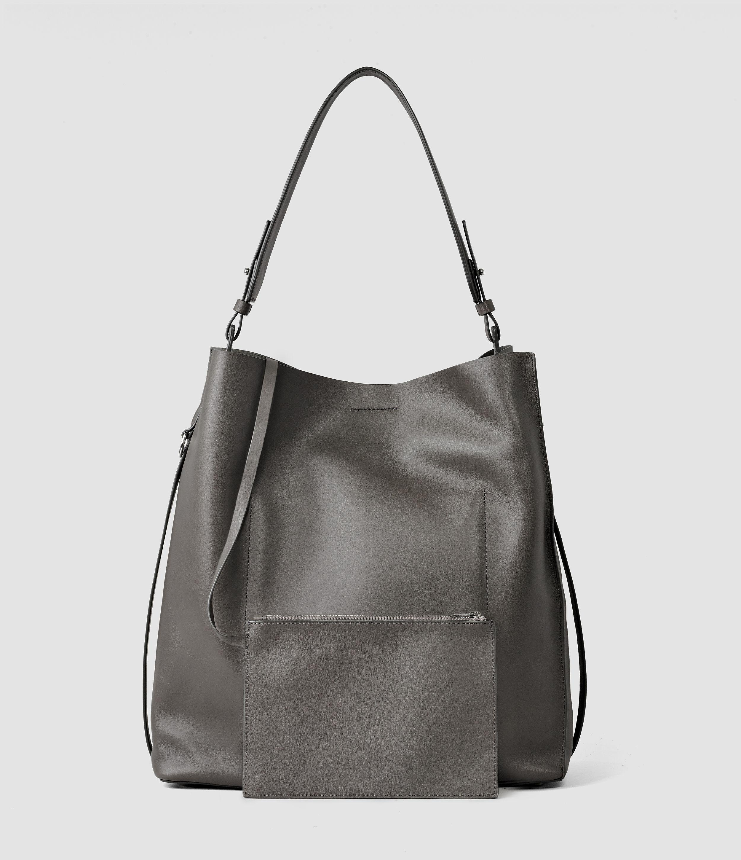 AllSaints Leather Paradise North South Tote in Dark Grey (Grey)