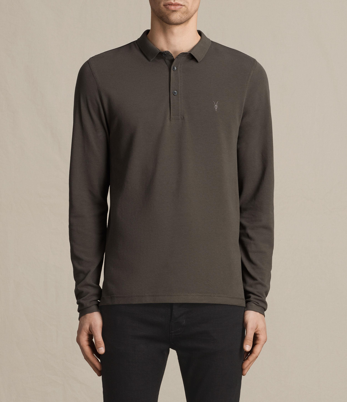 Allsaints Reform Long Sleeve Polo Shirt For Men Lyst