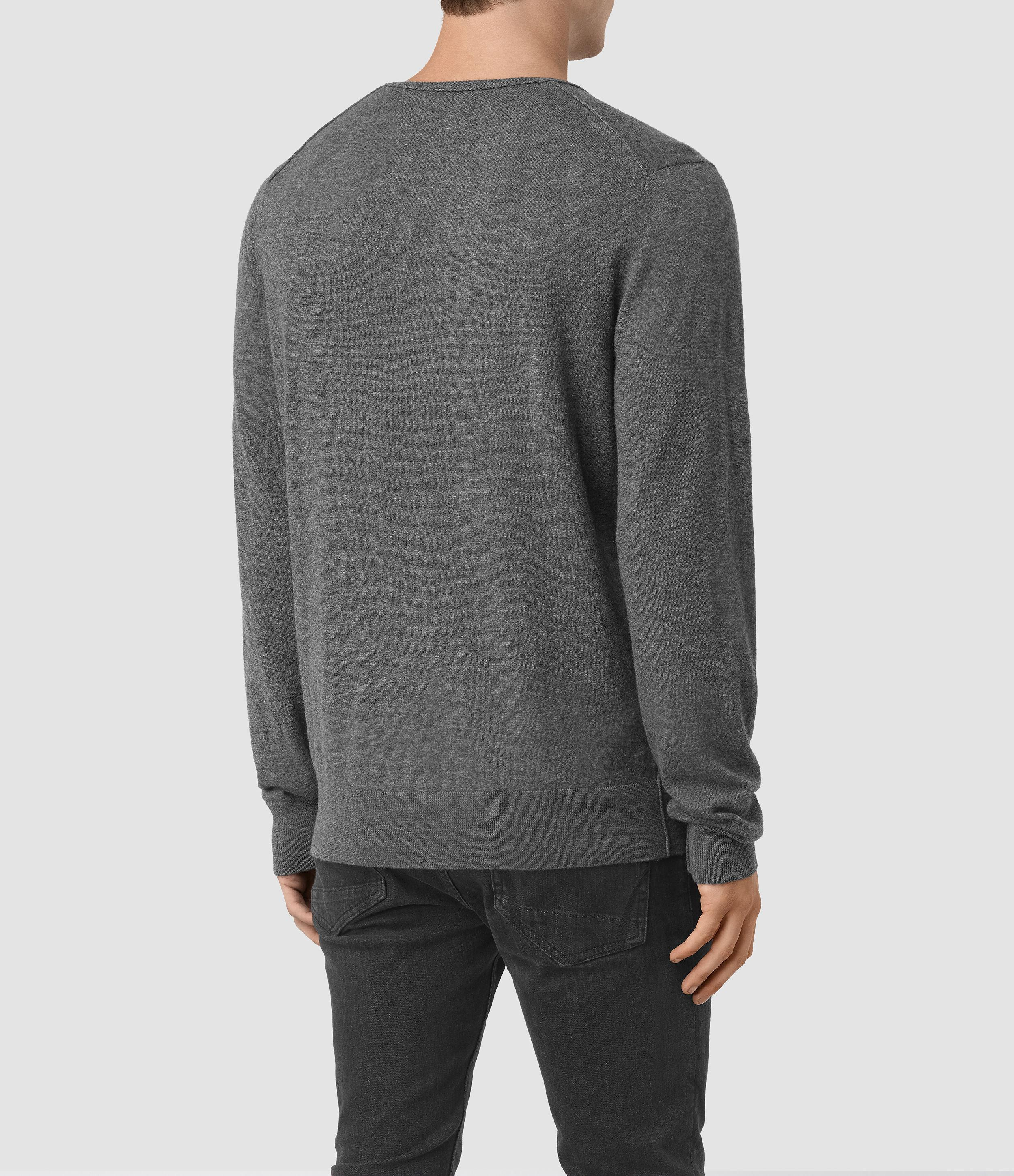 AllSaints Riviera Cashmere Crew Jumper in Charcoal Marl (Grey) for Men
