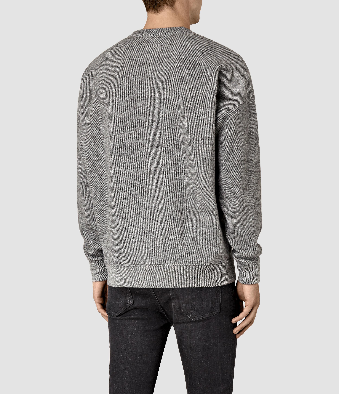 AllSaints Cotton Ryshe Crew Sweatshirt in Cinder Marl (Grey) for Men