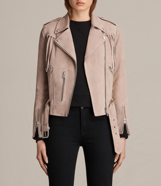 lyst allsaints tassel balfern suede biker jacket in pink