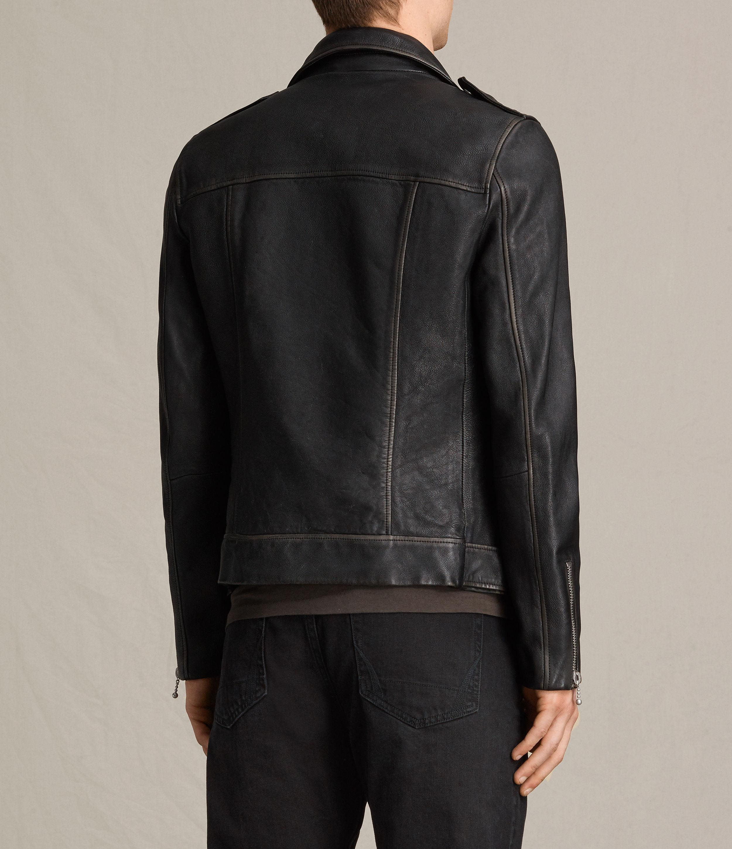AllSaints Wykham Leather Biker Jacket in Black for Men