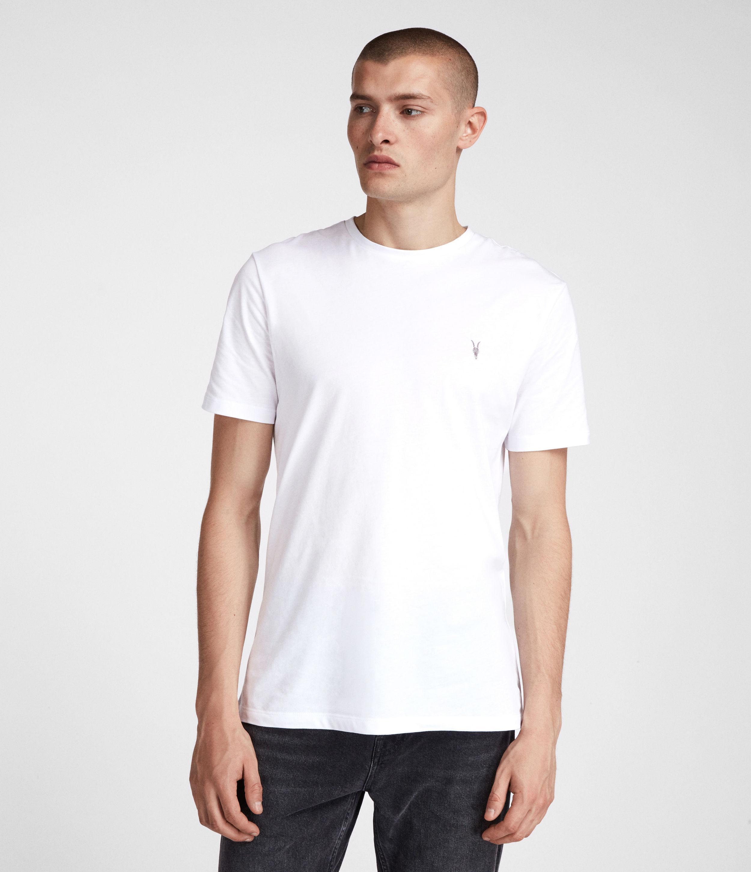 84410db51 Lyst - AllSaints Mens White Cotton Slim Fit Brace Tonic Crew T-shirt ...