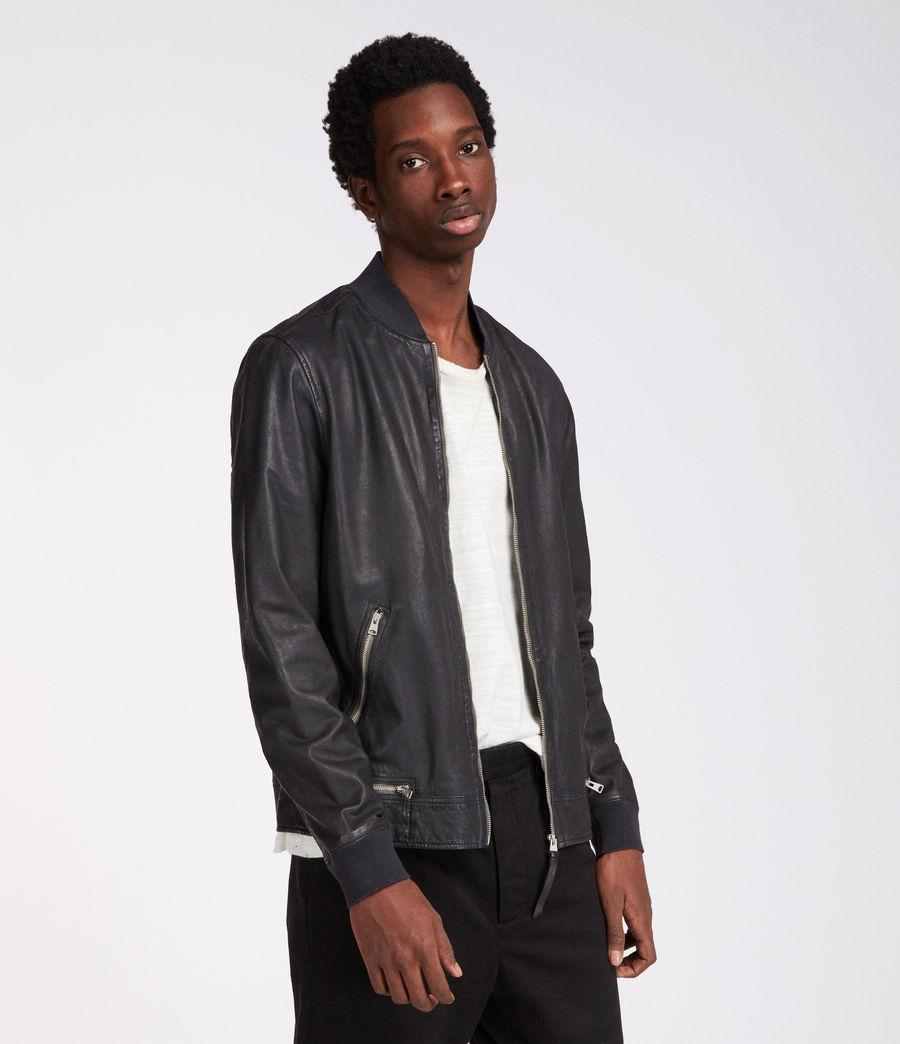 AllSaints Madden Leather Bomber Jacket in Blue for Men