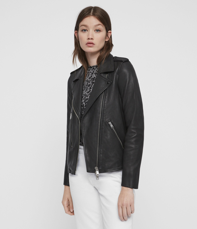 Womens EASY fit biker leather jacket Nicole Black ladies zip up casual garment
