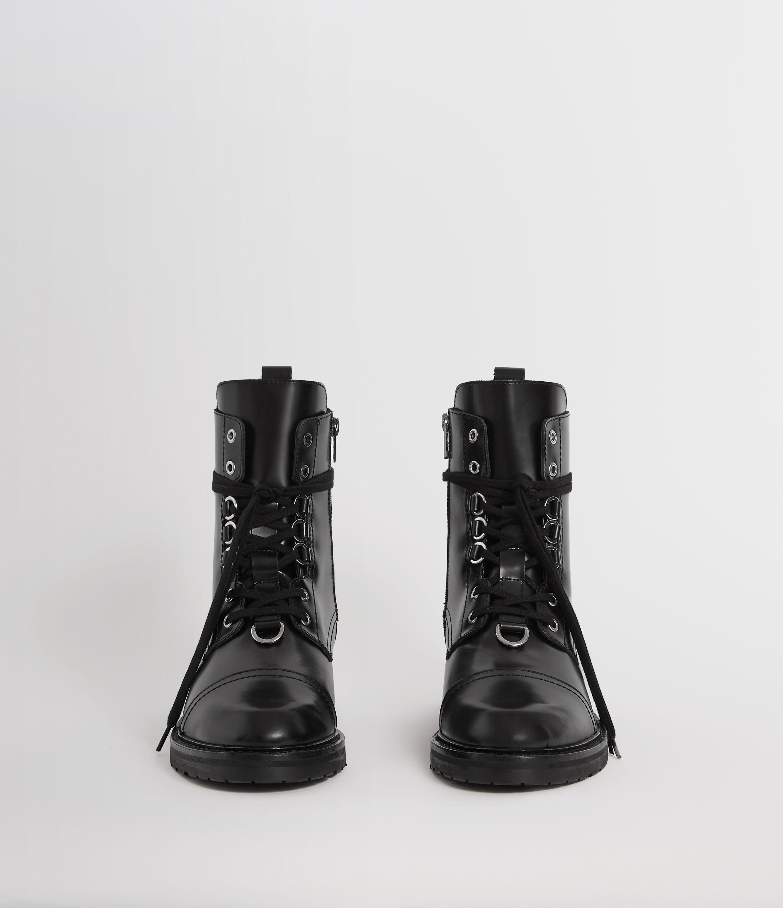 AllSaints Lira Leather Boots in Black