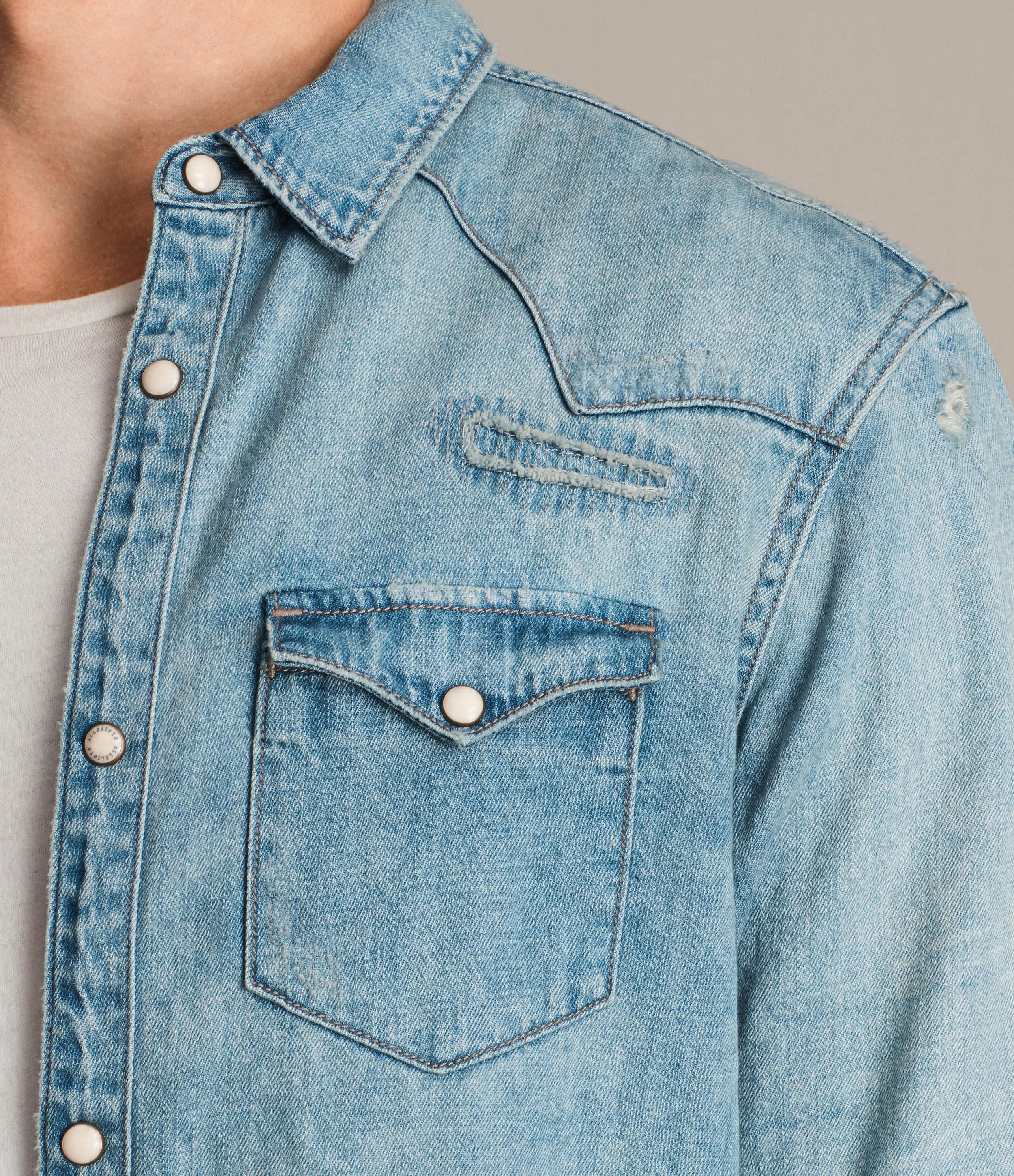 AllSaints Doomer Denim Shirt in Light Indigo Blue (Blue) for Men