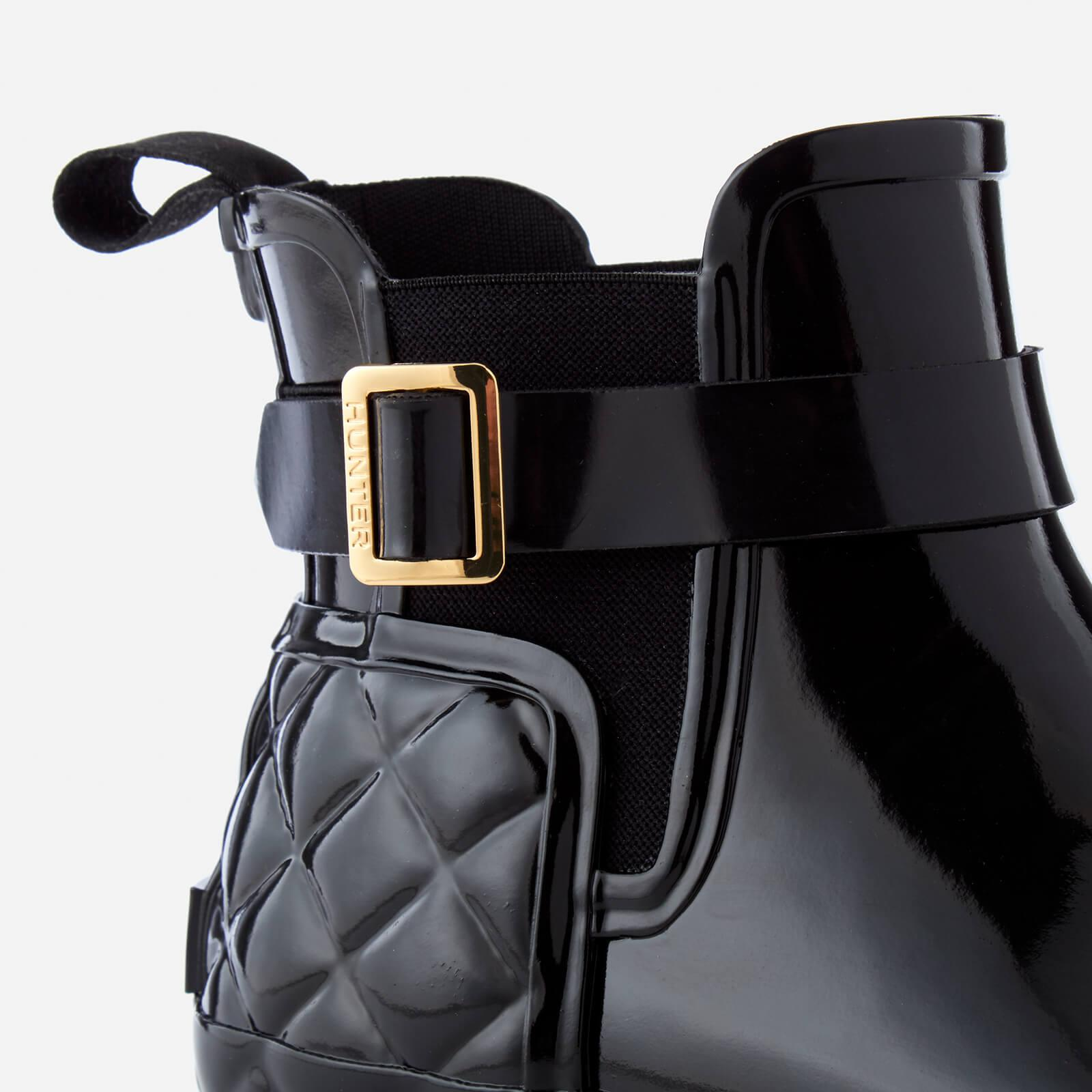HUNTER Rubber Women's Refined Gloss Quilt Chelsea Boots in Black