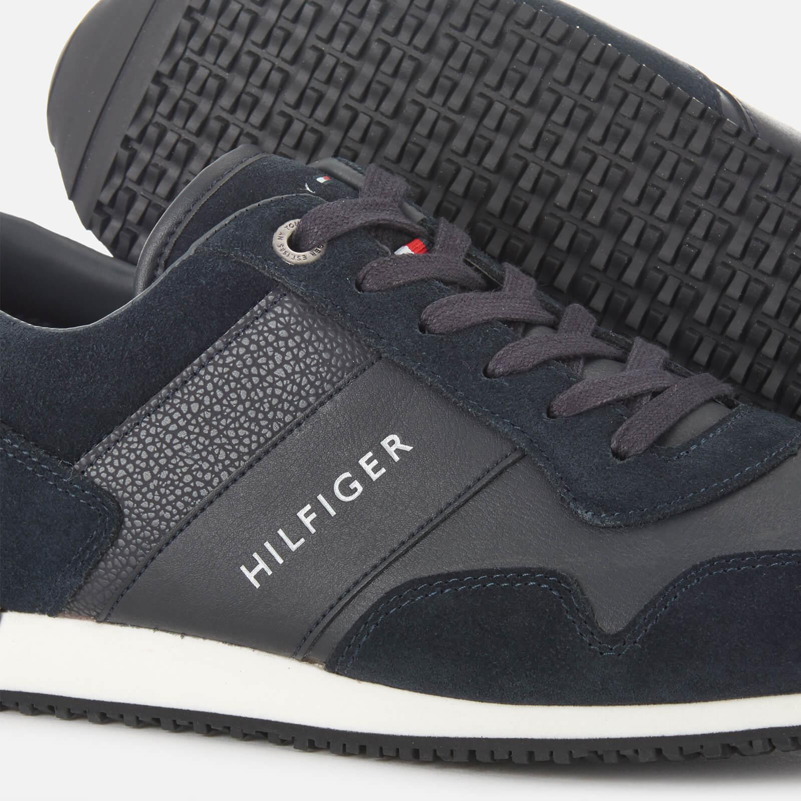 Tommy Hilfiger Blue Iconic Leather Suede Mix Runner Style Trainers for men