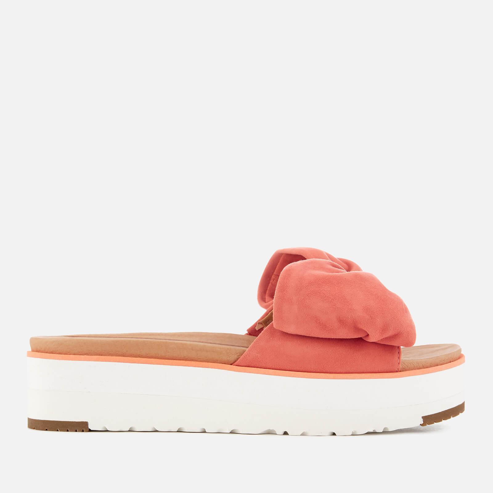21f4b64c2 UGG Joan Suede Bow Flatform Slide Sandals in Orange - Lyst