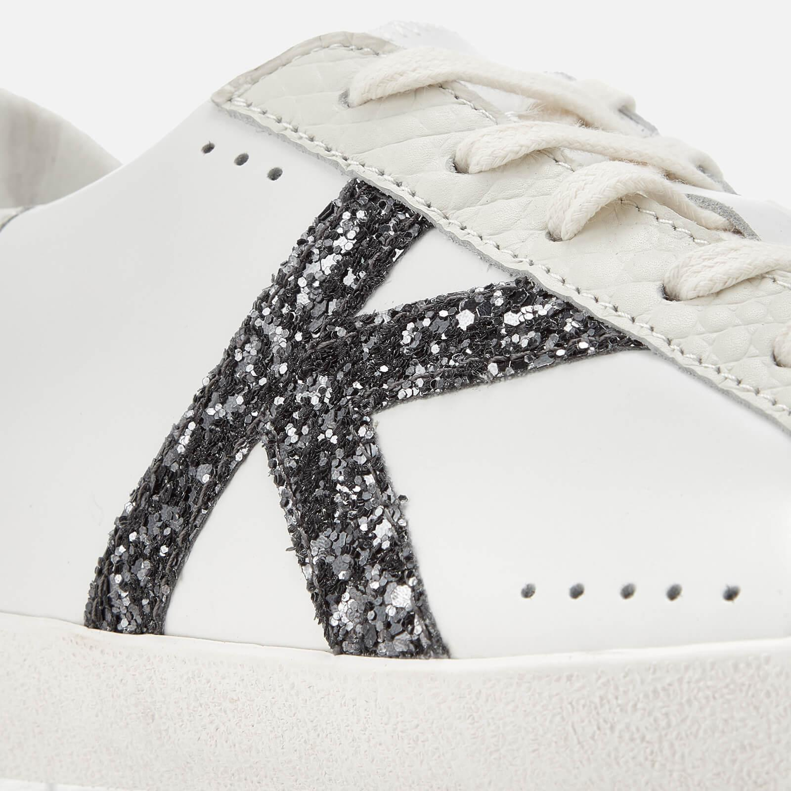 Kurt Geiger Leif Lightening Bolt Leather Cupsole Trainers in White
