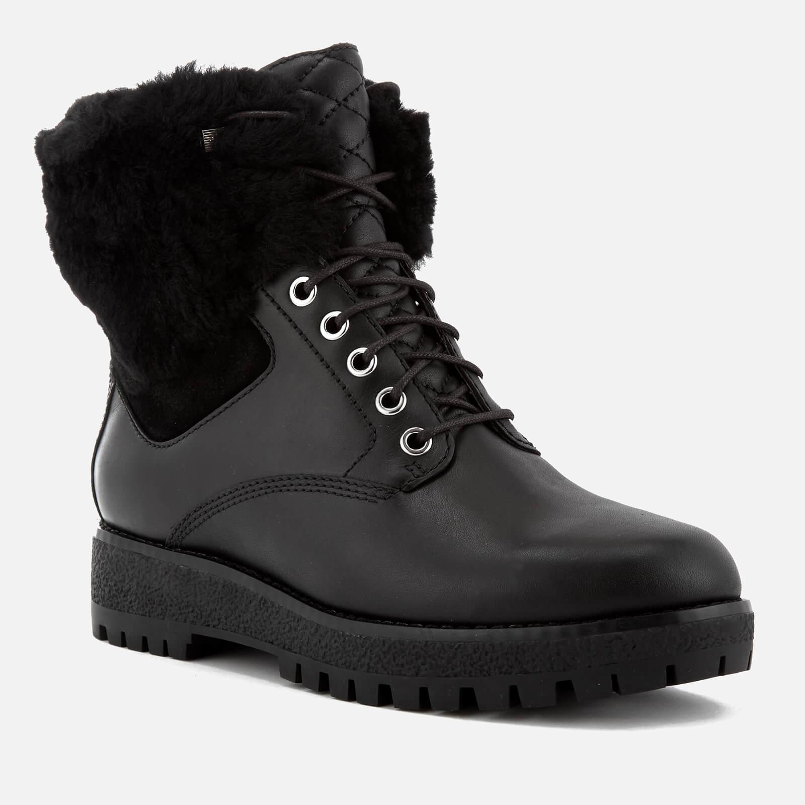 MICHAEL Michael Kors Teddy Leather Lace Up Boots in Black