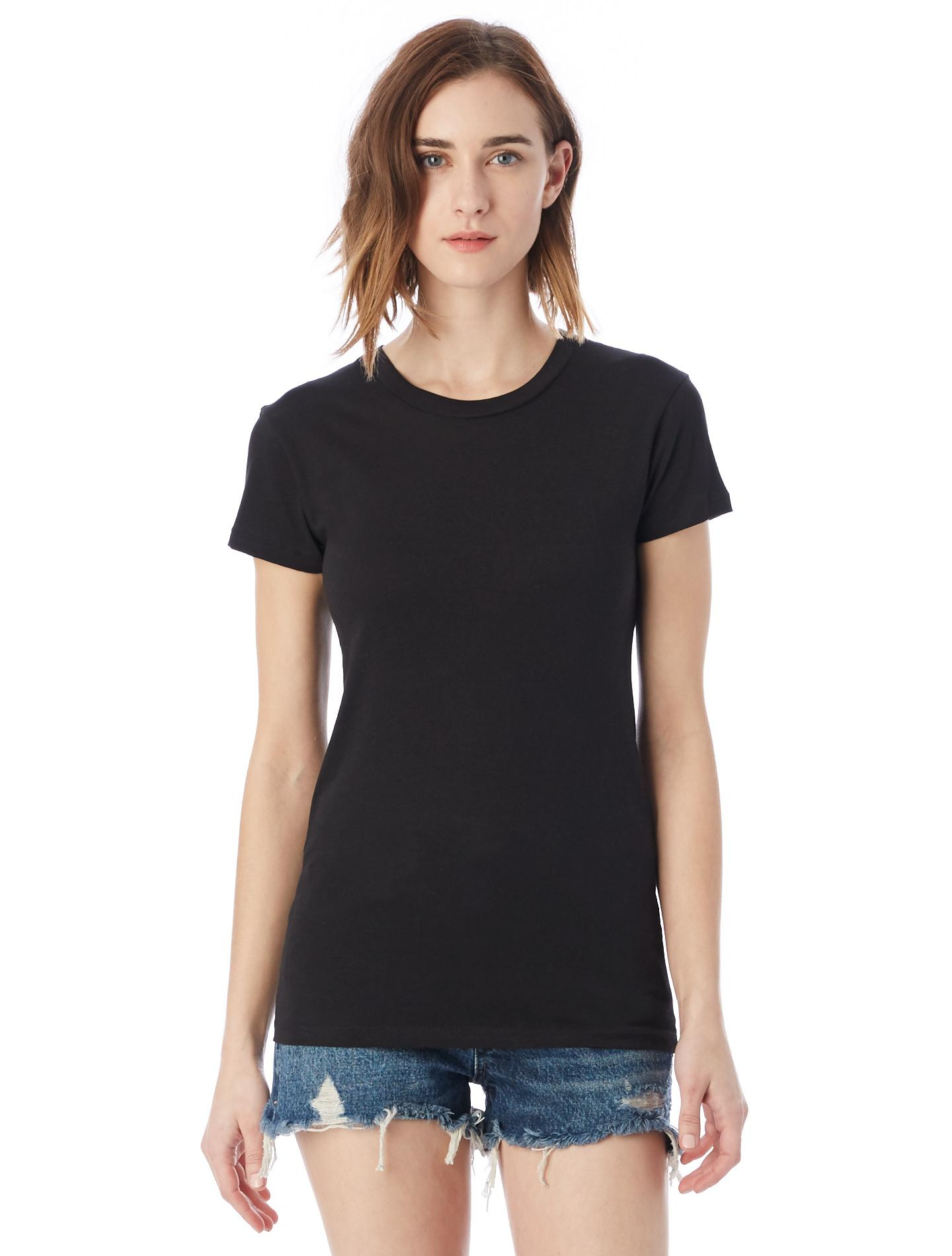 Alternative apparel basic womens crew t shirt in black lyst for Basic shirts for women