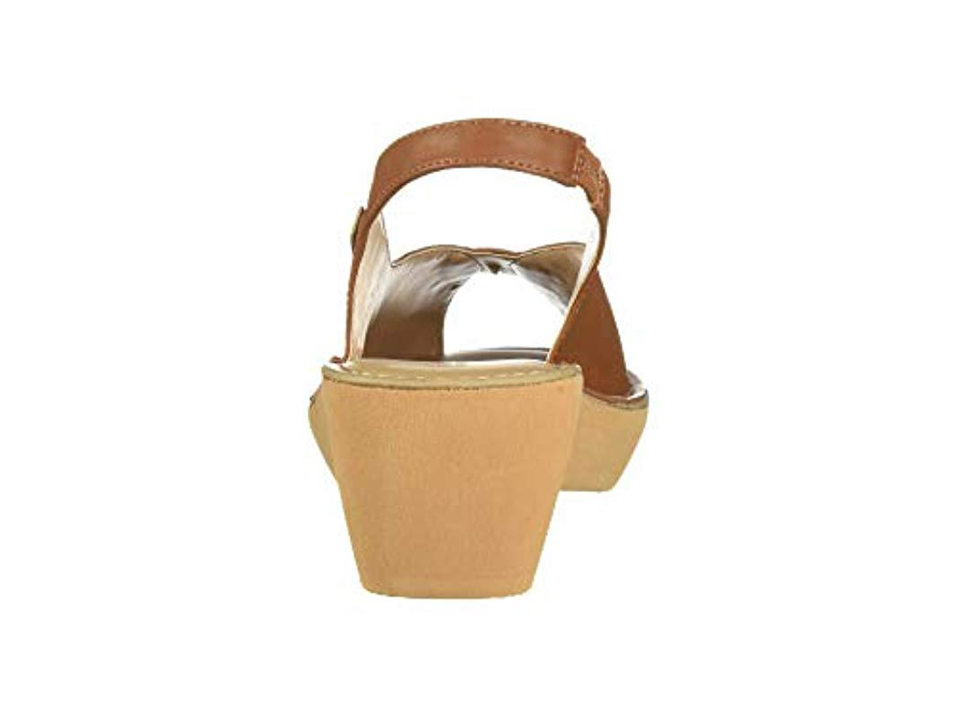 e911ac03d1c8 Kenneth Cole Reaction - Brown Fine Stretch Slingback Platform Sandal Wedge  - Lyst. View fullscreen