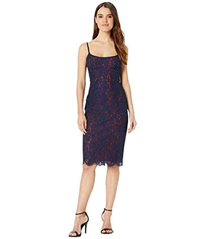 5c22bc81 Lyst - BCBGMAXAZRIA Strappy Lace Sheath Dress in Blue