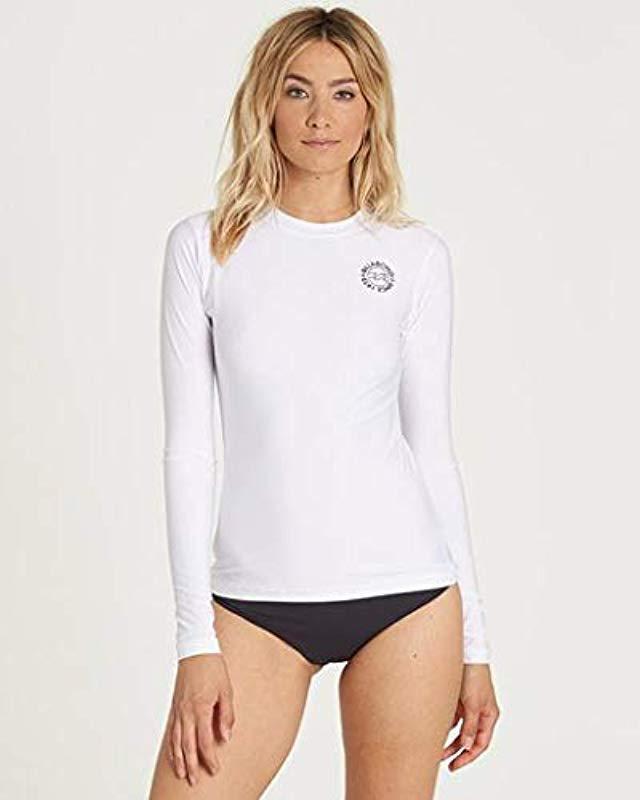 9c7ab79912915 Lyst - Billabong Core Lose Fit Long-sleeve Swim Rashguard in White ...