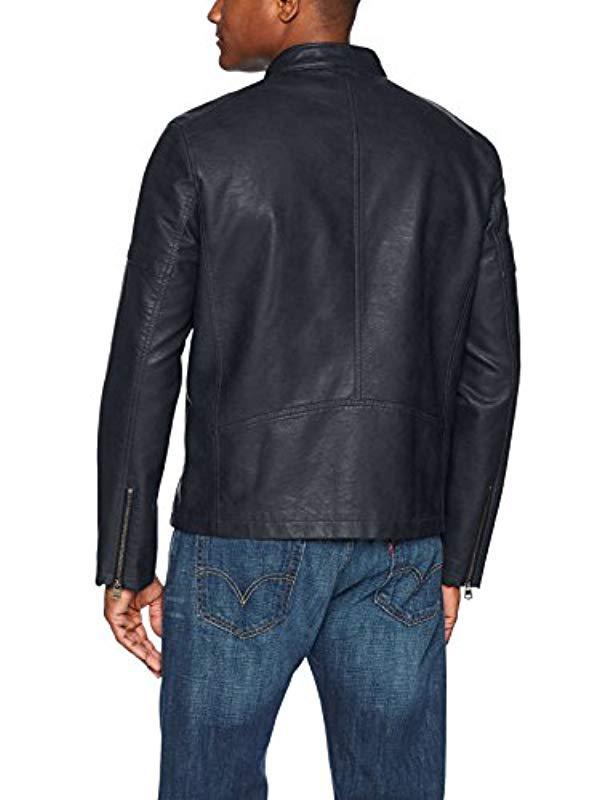 5b1a2340c6d8 Lyst - Levi's Faux Leather Motorcross Racer Jacket in Blue for Men