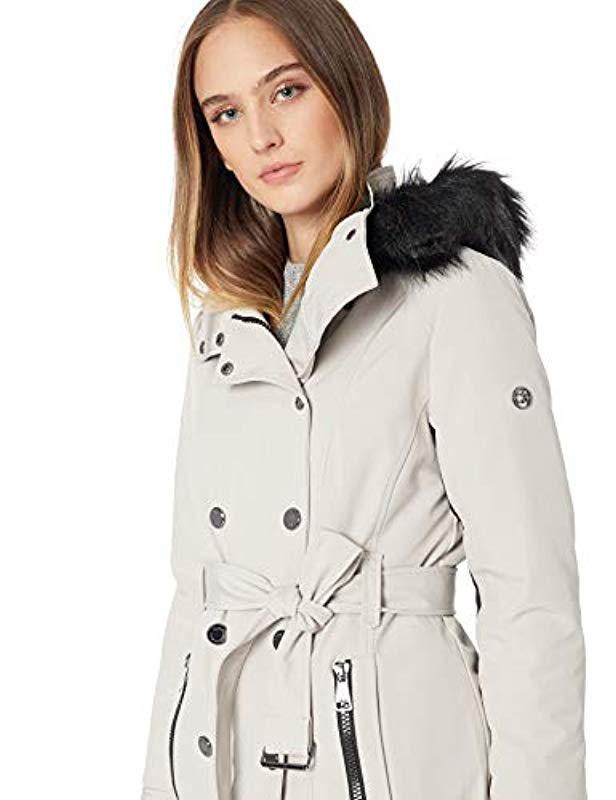 ebf69a40b36 Lyst - Calvin Klein Short Faux Fur Trimmed Soft Shell Belted With Double  Snap Front Closure