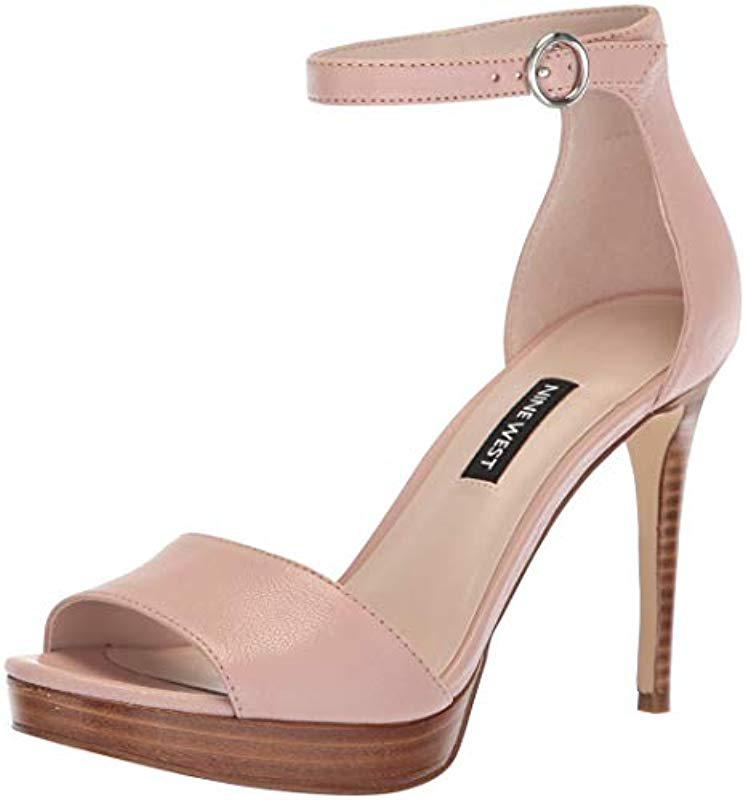 f5e678f42aa Lyst - Nine West Querrey Leather Heeled Sandal in Pink