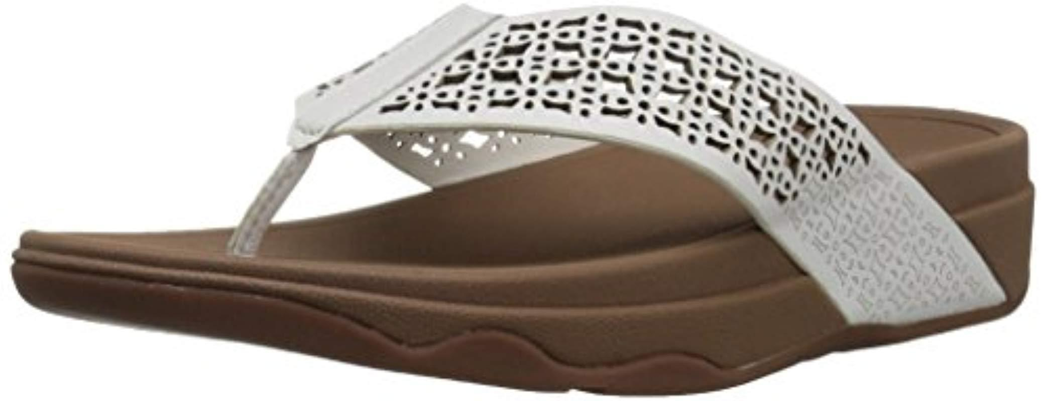 7860dac5a Lyst - Fitflop Leather Lattice Surfa Floral Flip Flops - Save 14%
