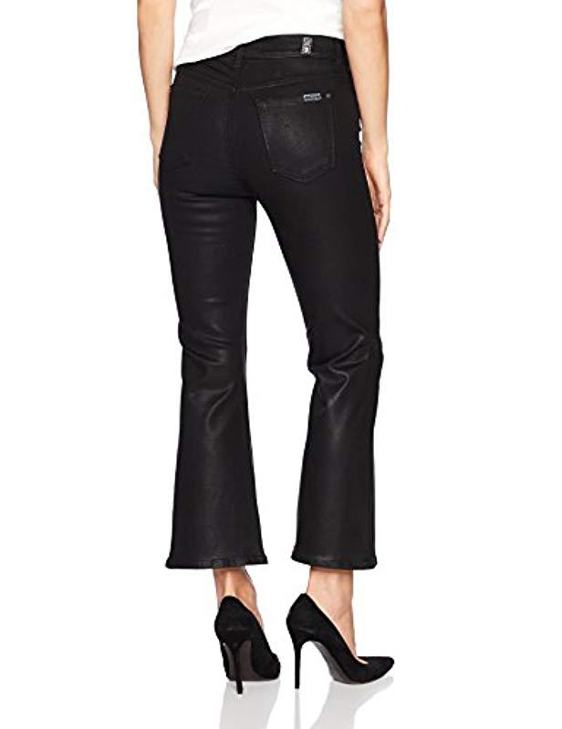 524ca61fae2ae Lyst - 7 For All Mankind Cropped Ali Flared Leg Jean In Black Coated Color  in Black