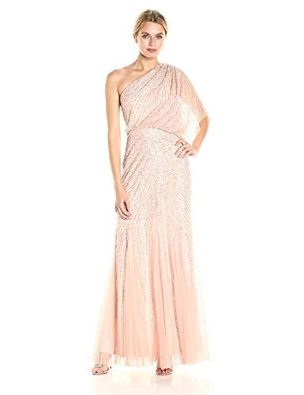 Lyst - Adrianna Papell One Shoulder Sequin Beaded Blouson Gown