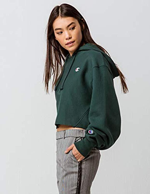 01a988d3ef66 Lyst - Champion Reverse Weave Cropped Cut Off Hood in Green - Save 2%