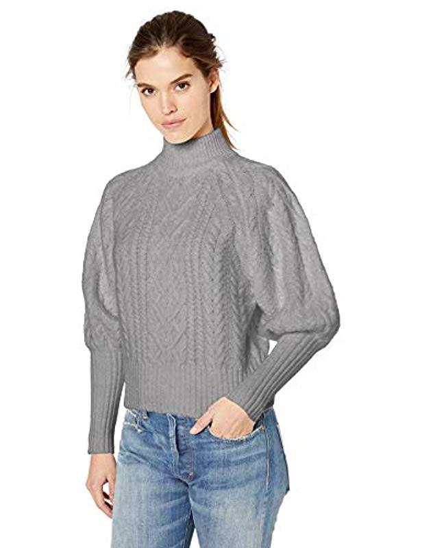 42aa7d75e0b2b Lyst - BCBGMAXAZRIA Balloon Sleeve Cable Knit Turtleneck Sweater in Gray