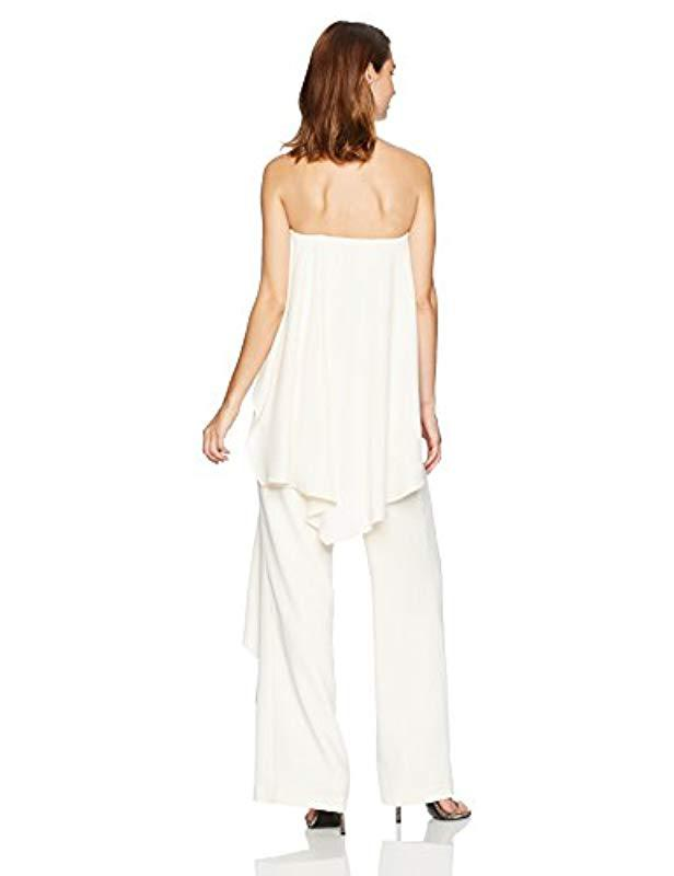 db50313f3050 Lyst - Halston Strapless Jumpsuit With Flowy Back in Natural
