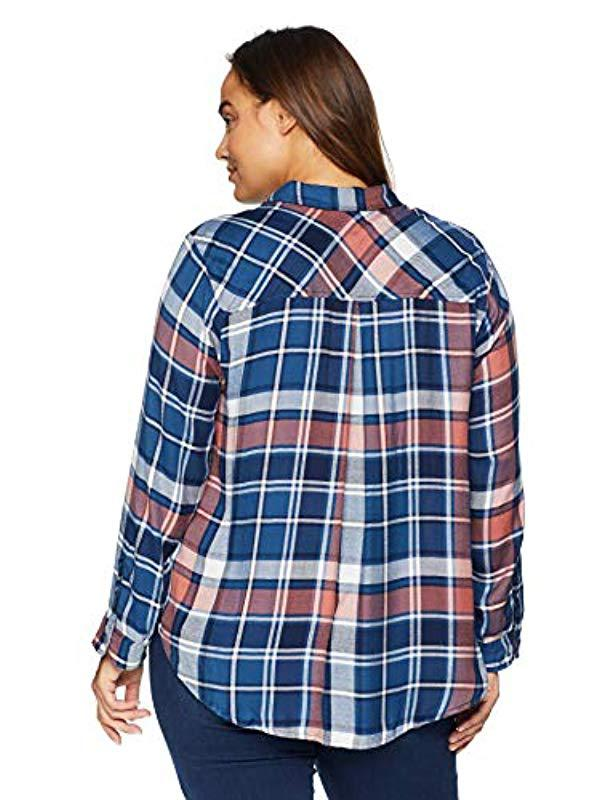 f8459294b94 Lyst - Lucky Brand Plus Size Boyfriend Button Up Plaid Shirt In Multi in  Blue