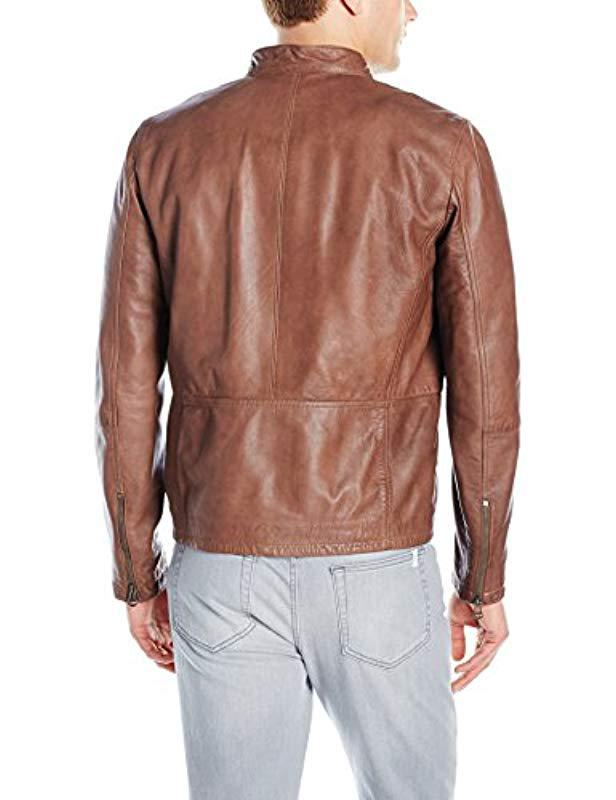 b79a7e806f Lyst - Cole Haan Washed Lamb Leather Moto Jacket in Brown for Men