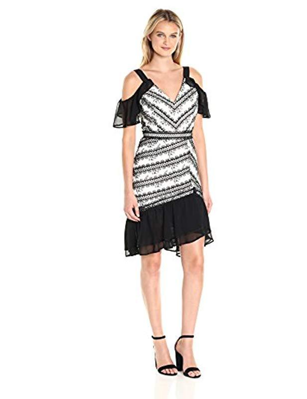 Lyst Adelyn Rae Nola Frill Dress In Black Save 7152777777777777