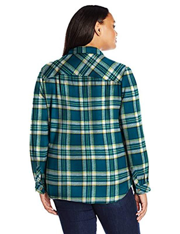 f786f09816d51 Lyst - Dickies Plus-size Long-sleeve Plaid Flannel Shirt in Green - Save 47%