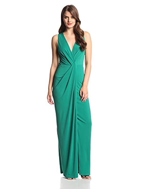 Lyst - Halston Heritage Draped Jersey V-neck Evening Gown in Green