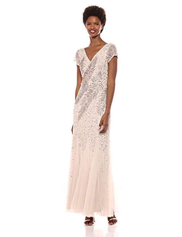 2304525c90fa Adrianna Papell. Women's Short Sleeve Long Feather Beaded V-neck Dress