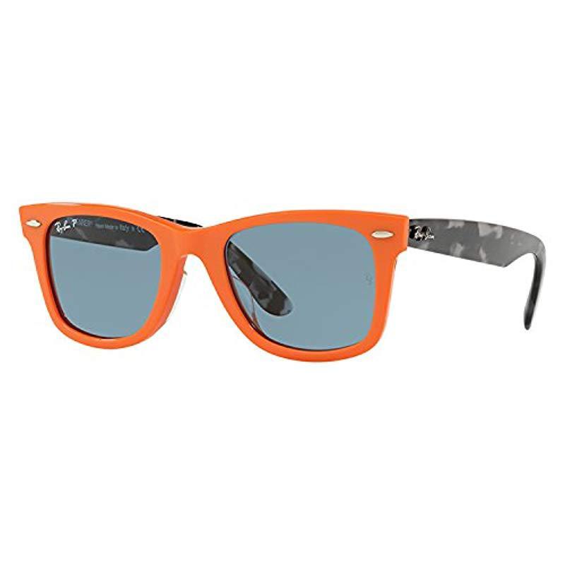 Lyst - Ray-Ban Wayfarer Polarized Square Sunglasses, Orange, 54 Mm ... 49345e2f809e