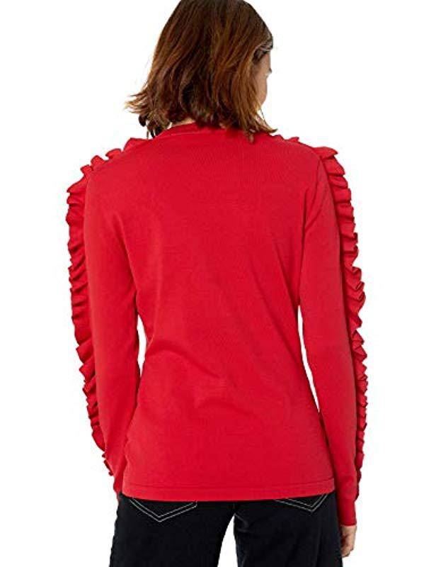 59809a32ad Lyst - Keepsake Hands On Ruffle Long Sleeve Knit Sweater Top in Red
