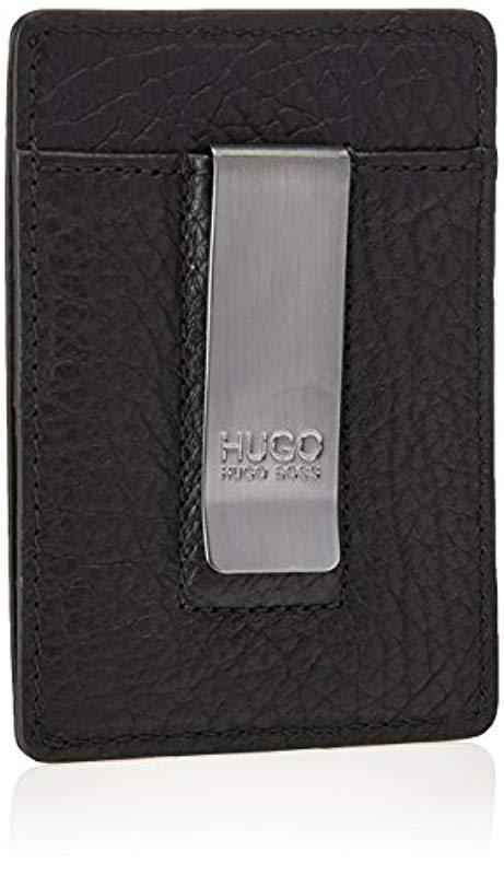 online store f3ab9 25412 BOSS Black Hugo By Victorian Embossed Leather Money Clip Card Case for men